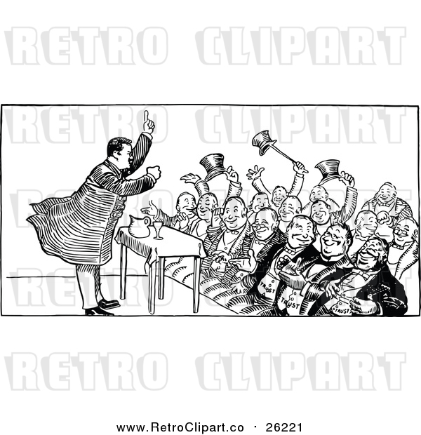Vector Clip Art of a Black and White Crowd and Speaker