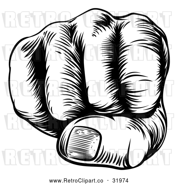 Vector Clip Art of a Black Retro Human Fist