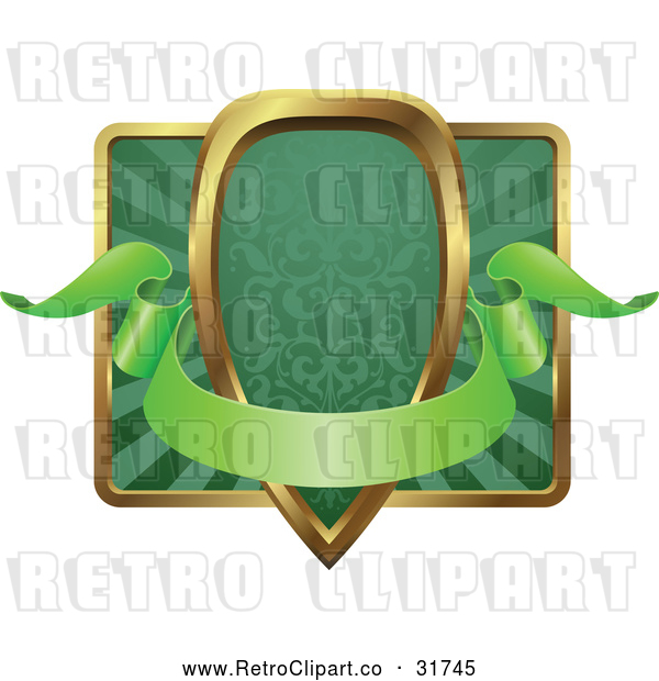 Vector Clip Art of a Blank Retro Green and Gold Banner Shield or Frame