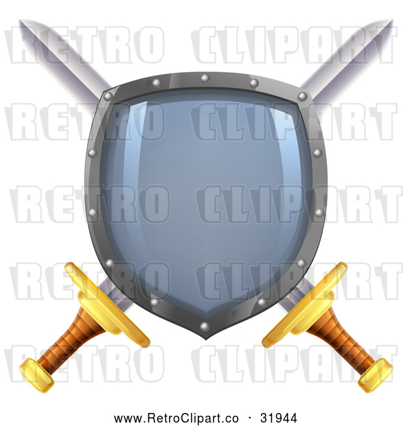Vector Clip Art of a Blank Retro Imprinted Shield over Crossed Swords