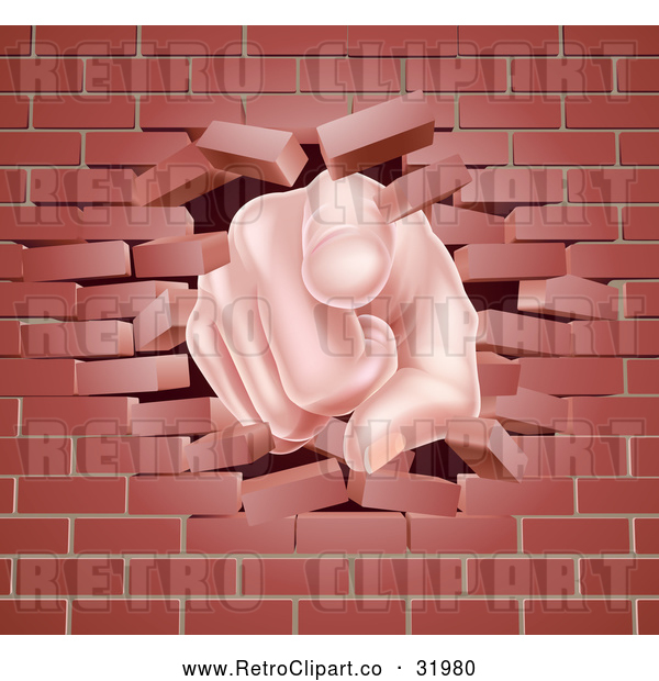 Vector Clip Art of a Cartoon White Hand Pointing Finger While Breaking Through Brick Wall