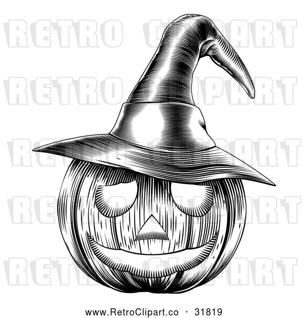 Vector Clip Art of a Carved Retro Halloween Jackolantern Pumpkin Featuring a Witch Hat