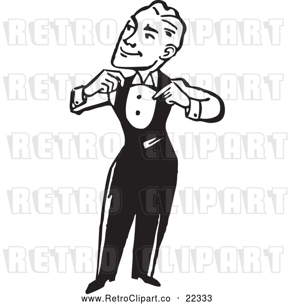 Vector Clip Art of a Confident Retro Man Adjusting His Suit