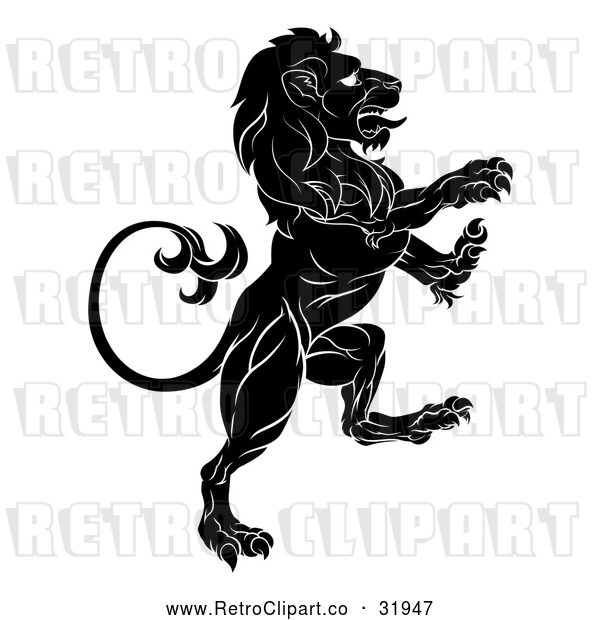 : Vector Clip Art of a Determined Retro Black Lion Forwardly Rearing up Aggressively in Confidence