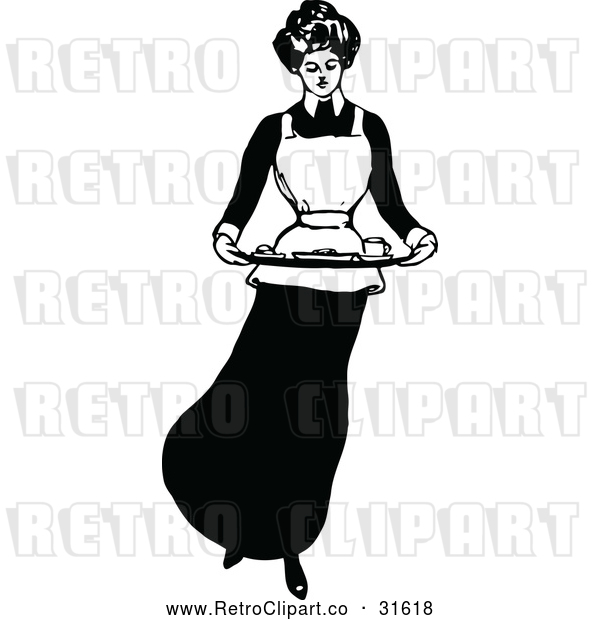 Vector Clip Art of a Domestic Retro Housewife Maid Carrying Food Platter
