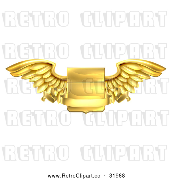 Vector Clip Art of a Gold Retro Heraldic Winged Shield with Blank Banner Body Notice