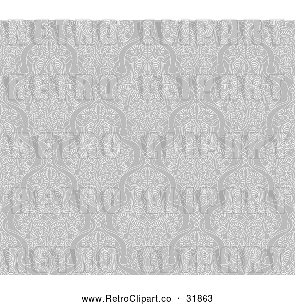 Vector Clip Art of a Grayscale Retro Seamless Middle Eastern Motif Background Pattern That Can Repeat Indefinitely