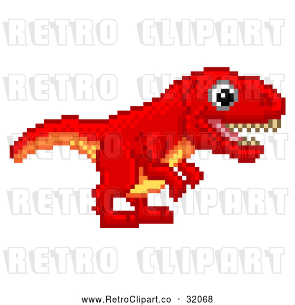 : Vector Clip Art of a Happy Pixelated Retro 8-Bit Tyrannosaurs Rex Dinosaur Determined to Walk Forward into an Old School Styled Video Game