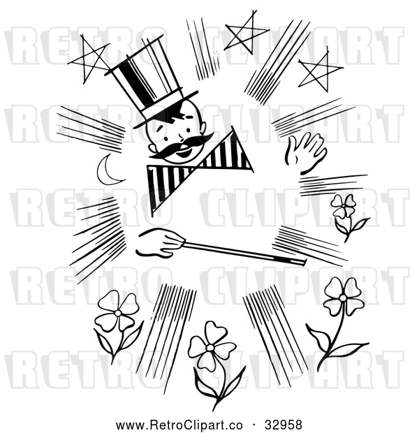 Vector Clip Art of a Happy Retro Magician Boy with Wand
