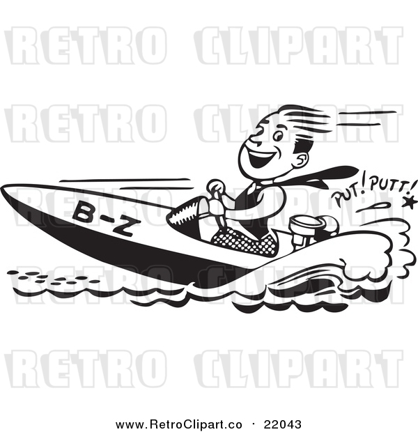 Vector Clip Art of a Happy Retro Man Driving a Speed Boat