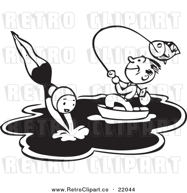 Vector Clip Art of a Happy Retro Man Fishing from a Boat While a Woman Dives into the Water