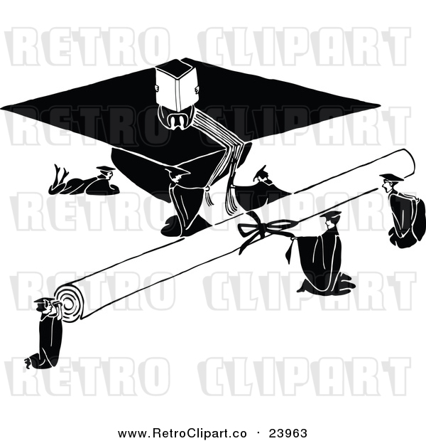 Vector Clip Art of a Huge Retro Diploma and Graduation Cap Beside Tiny Graduates