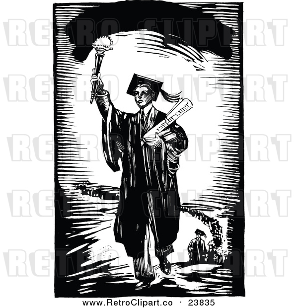 : Vector Clip Art of a Leading Retro Male Graduate Holding a Torch