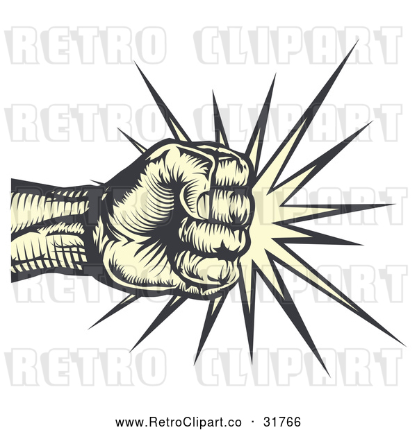 Vector Clip Art of a Menacing Retro Human Fist Striking Hard Against Something