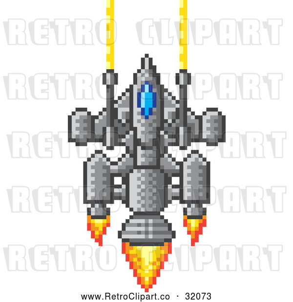 Vector Clip Art of a Pixelized Retro 8-Bit Spaceship Shooting Lazers with Flame Powered Jets