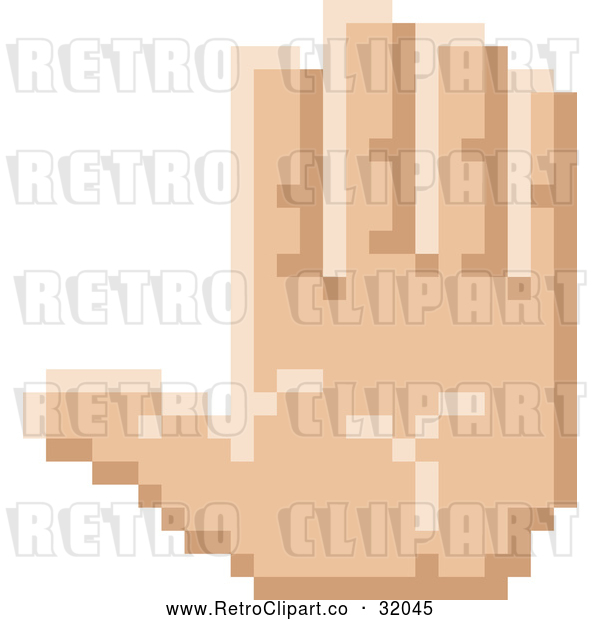 : Vector Clip Art of a Pixelized Retro 8-Bit Styled Hand Gesturing Stop Sign Language