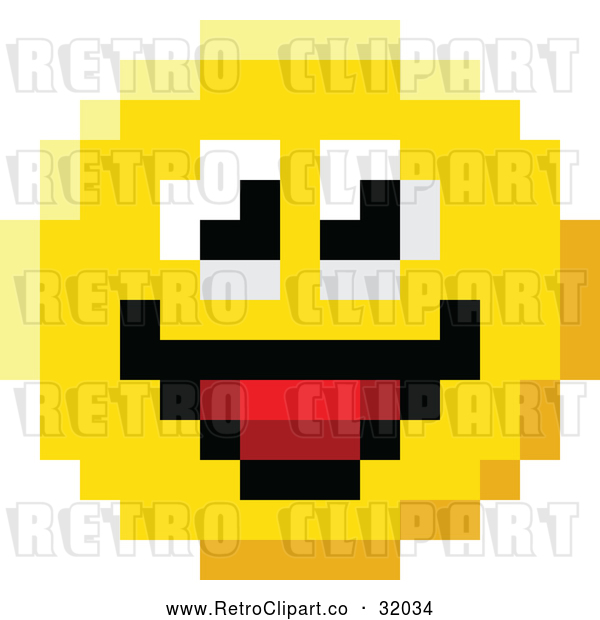 Vector Clip Art of a Pixelized Retro Smiling 8-Bit Emoji Smiley Face