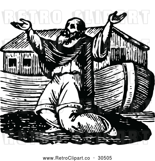 Vector Clip Art of a Religious Retro Man Praying Beside an Ark Boat