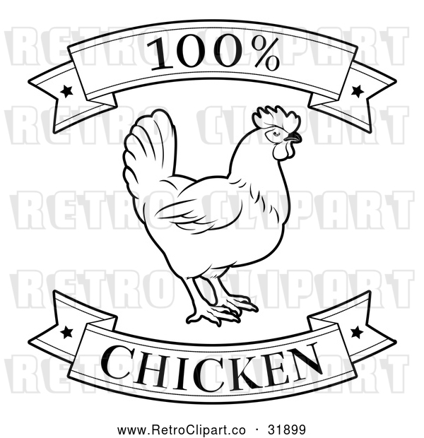 Vector Clip Art of a Retro '100 Percent Chicken' Food Banners with a Rooster in Black Lineart
