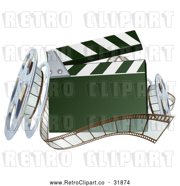 Vector Clip Art of a Retro 3d Clapper Board with Film Strips and Reels
