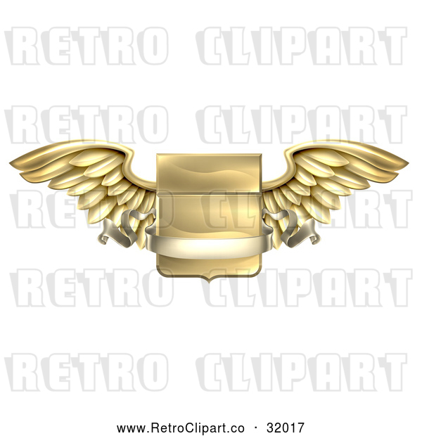 : Vector Clip Art of a Retro 3d Gold Heraldic Winged Shield with a Blank Banner Ribbon