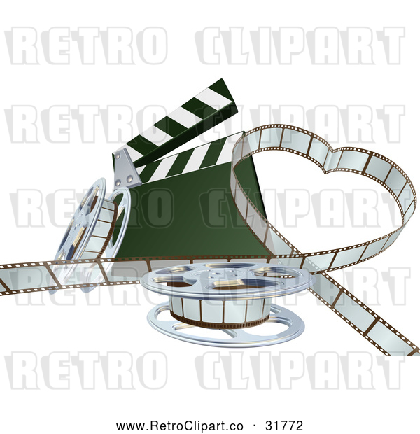 Vector Clip Art of a Retro 3d Movie Film Strip Forming a Love Heart Beside a Clapper and Reels