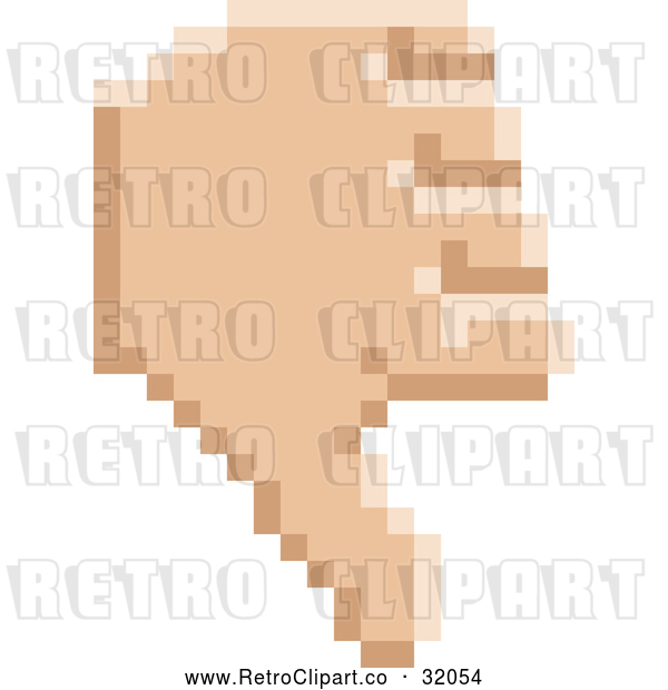 Vector Clip Art of a Retro 8 Bit Pixel Art Styled Hand Giving a Thumb down