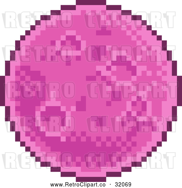 Vector Clip Art of a Retro 8 Bit Pixel Art Video Game Styled Planet