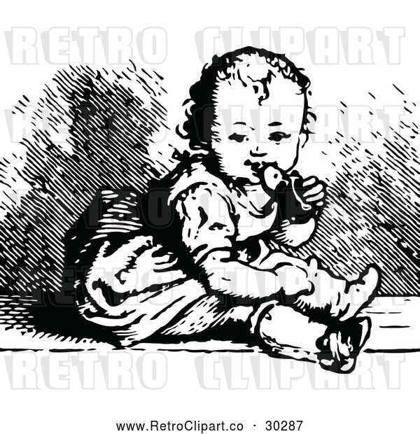 Vector Clip Art of a Retro Baby Chewing a Shoe