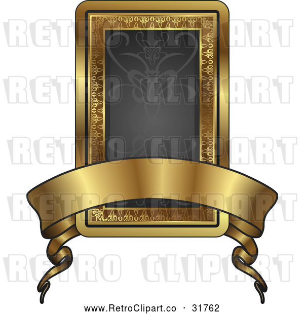 Vector Clip Art of a Retro Black and Gold Banner Frame with Blank Space