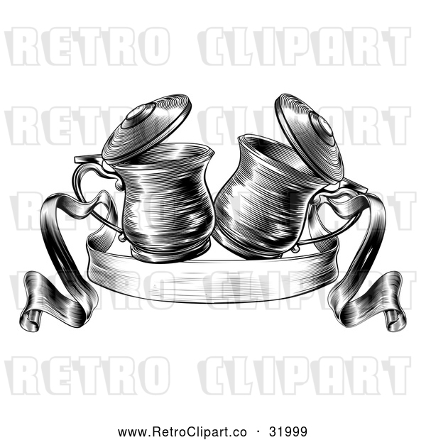 Vector Clip Art of a Retro Black and White Beer Steins Together in a Toast over a Ribbon Banner