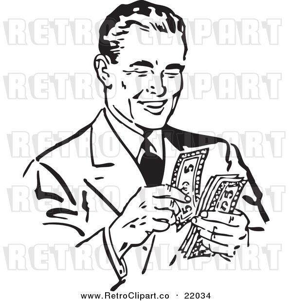 Vector Clip Art of a Retro Black and White Businessman Counting His Cash