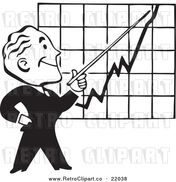 Vector Clip Art of a Retro Black and White Businessman Discussing a Chart