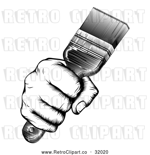 Vector Clip Art of a Retro Black and White Fist Hand Strongly Gripping a Paintbrush
