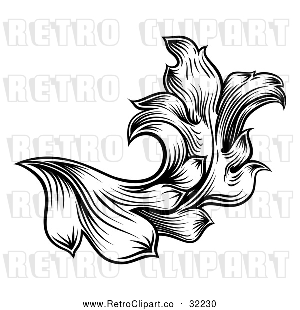 Vector Clip Art of a Retro Black and White Floral Leaf Design