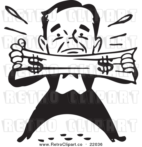 Vector Clip Art of a Retro Black and White Man Trying to Stretch a Dollar