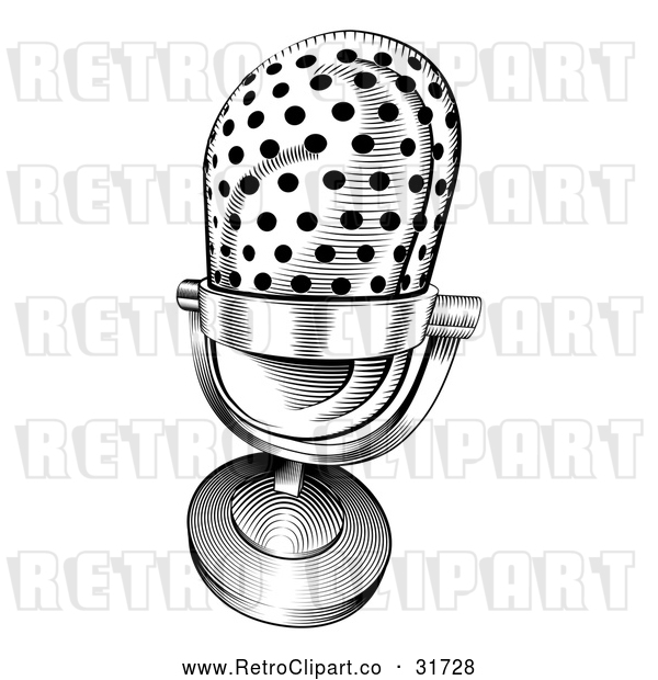 Vector Clip Art of a Retro Black and White Microphone