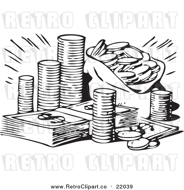 Vector Clip Art of a Retro Black and White Stash of Coins and Cash