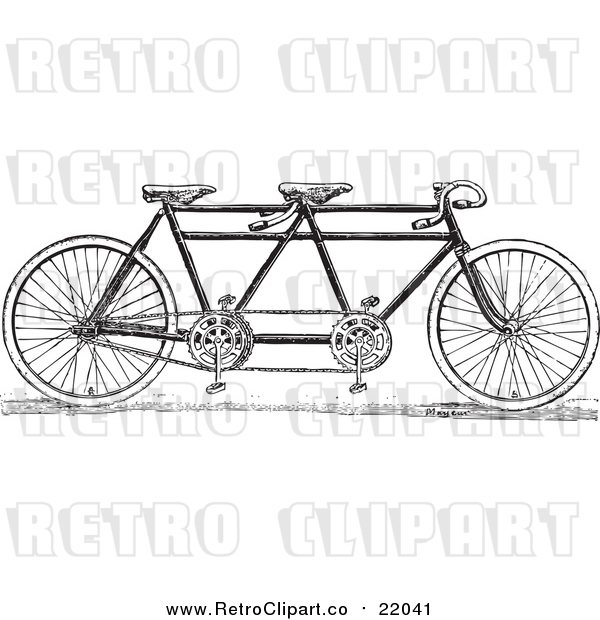 Vector Clip Art of a Retro Black and White Tandem Bicycle
