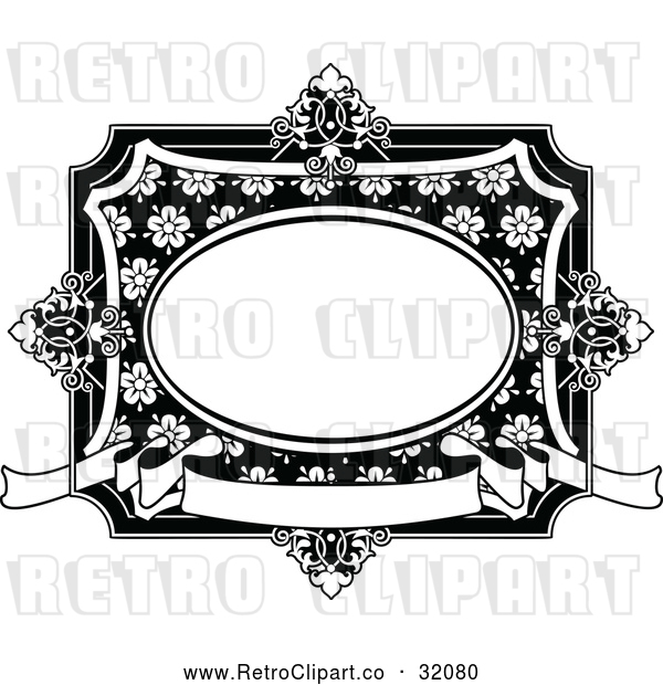 Vector Clip Art of a Retro Black and White Vintage Floral Frame