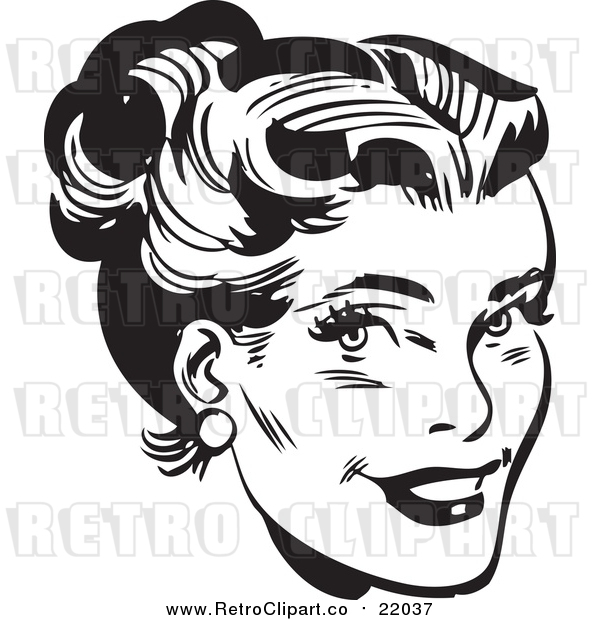 Vector Clip Art of a Retro Black and White Woman's Face with Her Hair up