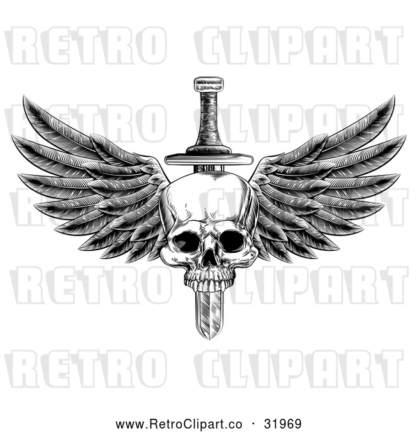 Vector Clip Art of a Retro Black Dagger Through a Winged Skull