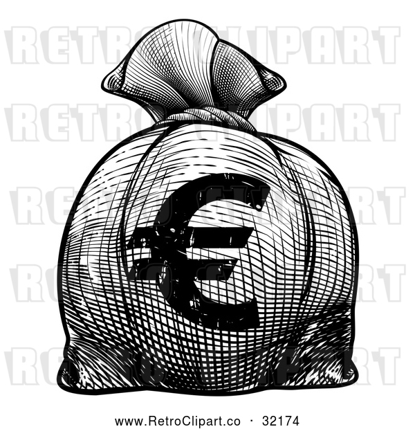 Vector Clip Art of a Retro Black Euro Burlap Money Bag Sack