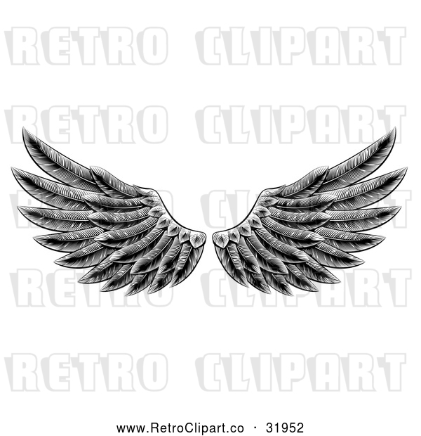Vector Clip Art of a Retro Black Feathered Wings