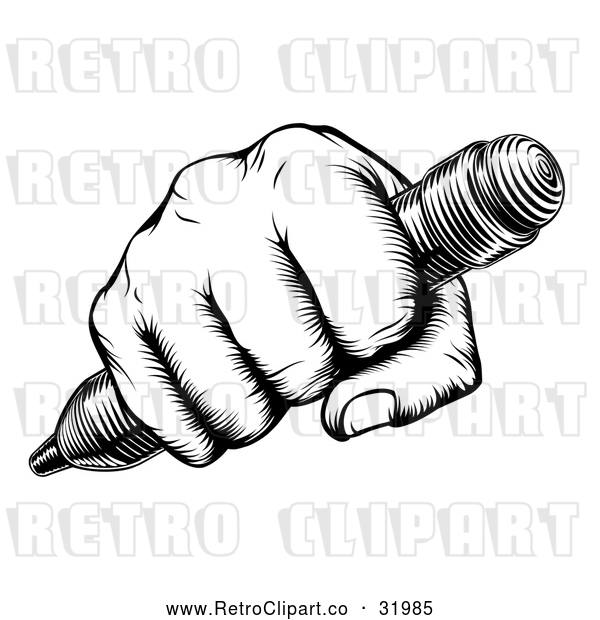 Vector Clip Art of a Retro Black Fisted Hand Holding a Pencil with Human Strength and Confidence