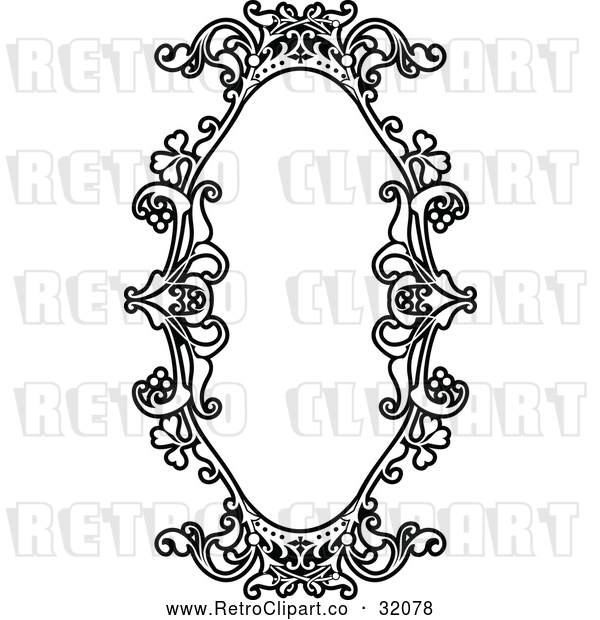 : Vector Clip Art of a Retro Black Floral Frame