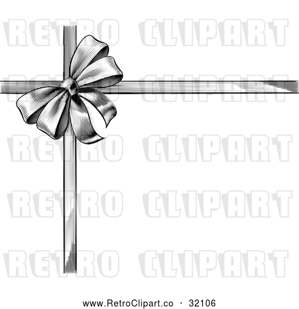 Vector Clip Art of a Retro Black Grayscale Gift Bow and Ribbons