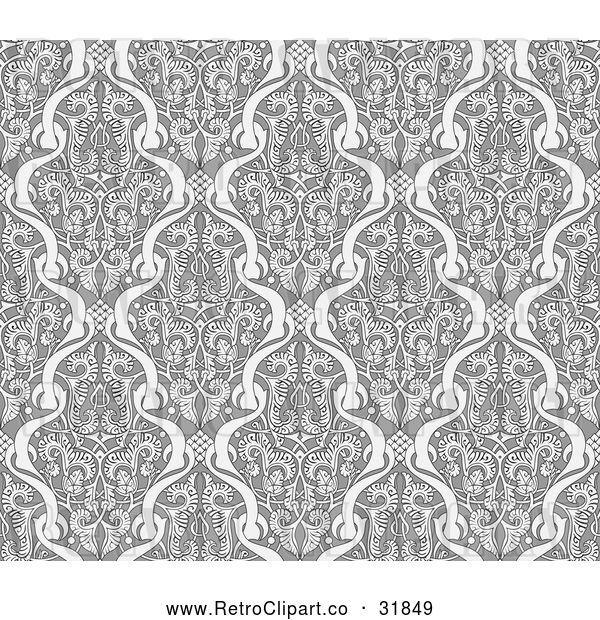 Vector Clip Art of a Retro Black Grayscale Seamless Middle Eastern Pattern