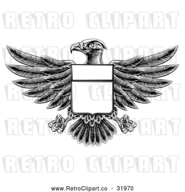 Vector Clip Art of a Retro Black Heraldic Coat of Arms American Bald Eagle with a Blank Shield Body