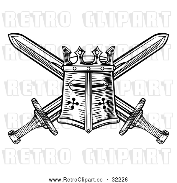 Vector Clip Art of a Retro Black Knights Great Helm Helmet and Crossed Swords